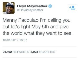 Mayweather sought a fight with Pacquiao in 2012, but it didn't materialise.