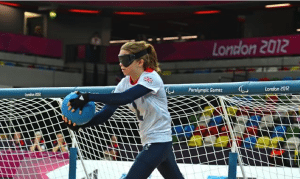 Warwick student Amy Ottaway blindfolded and in action at the 2012 Paralympic Games where she represented Team GB in Goalball.