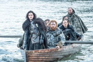 Jon Snow looking leader-ly on a small, very crowded rowboat. Photo: HBO and Sky