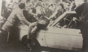 Warwick Students mug the car of Keith Joseph, then Tory Education Secretary, in 1983
