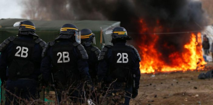 French authorities carry out evictions in the Jungle camp in March of this year. Image: Amirah Breen / Wikimedia Commons