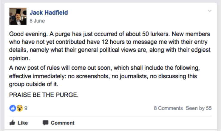 "One of several ""purges"" run by Hadfield."