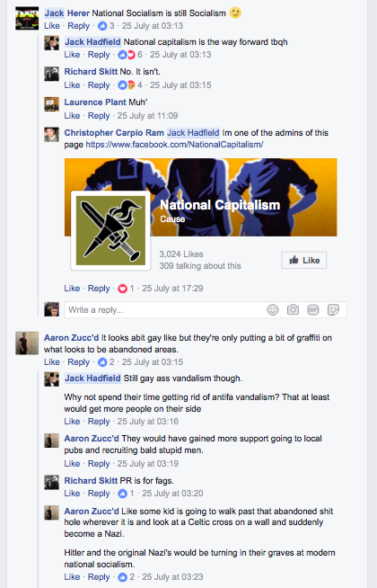 Comments on post by Hadfield on nazi graffiti group NS131.