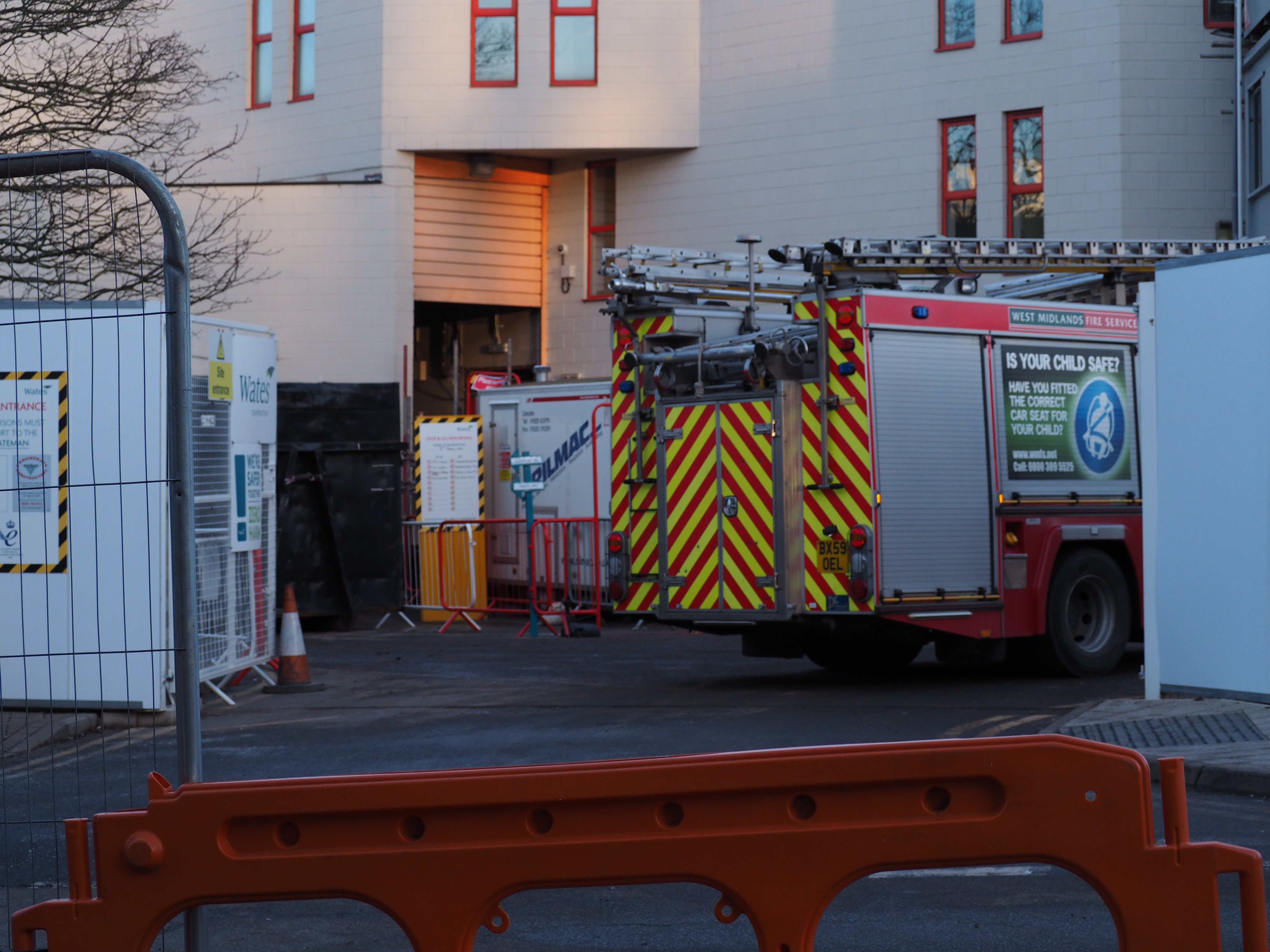 Fire engine outside Arts Centre.