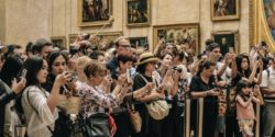 Crowd of tourists at museum