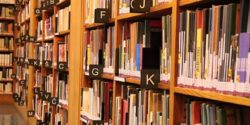 Shelves in a book shop