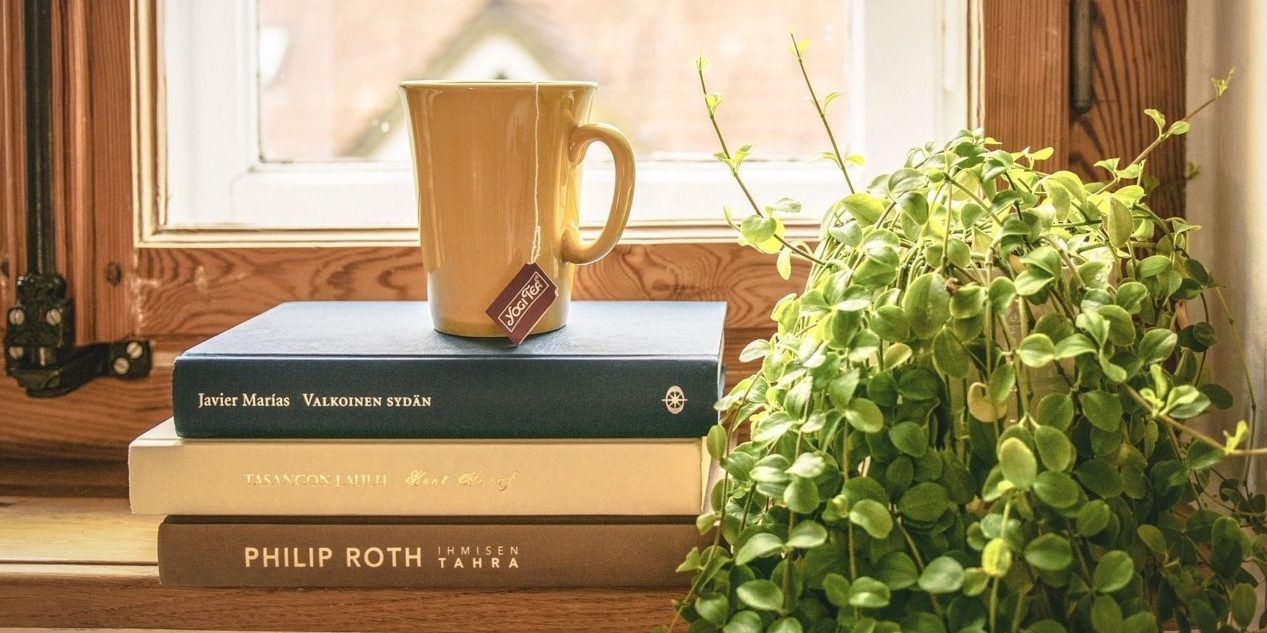 Books in front of a window