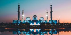 A colourful, illuminated mosque