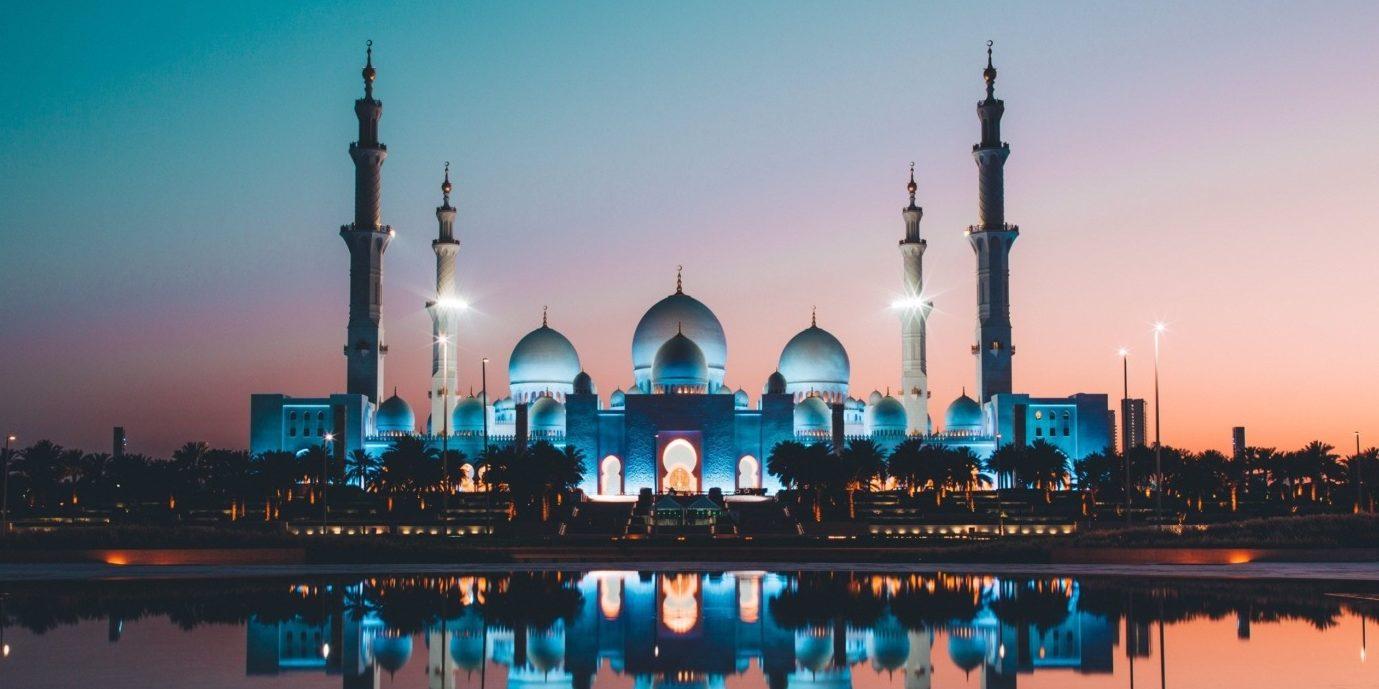 A colourful, illuminated mosque