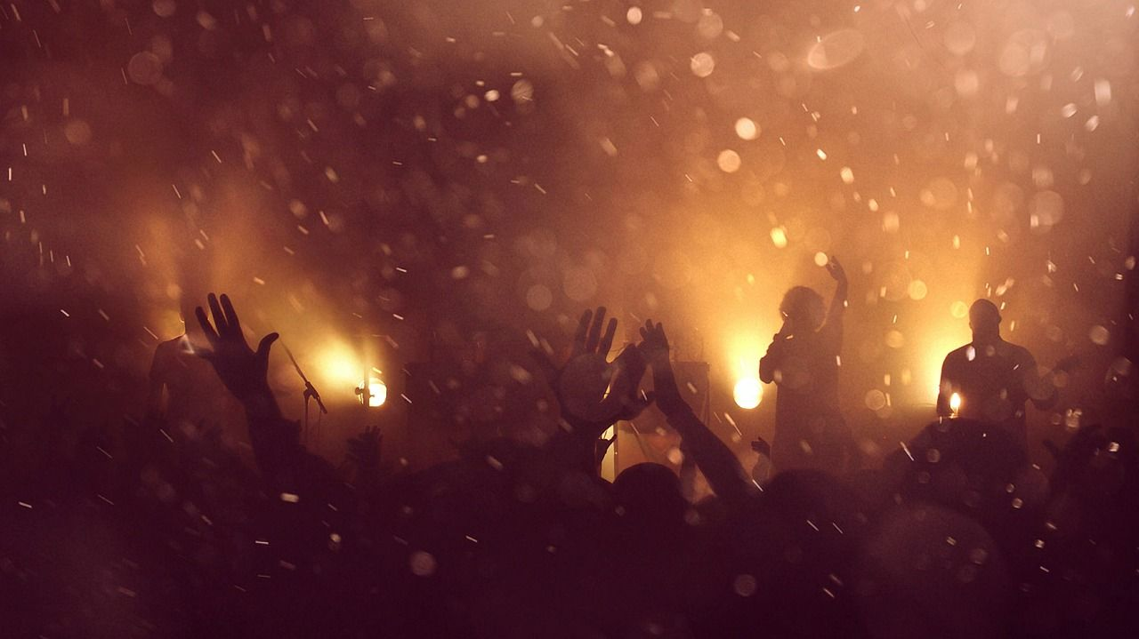 crowd in sepia