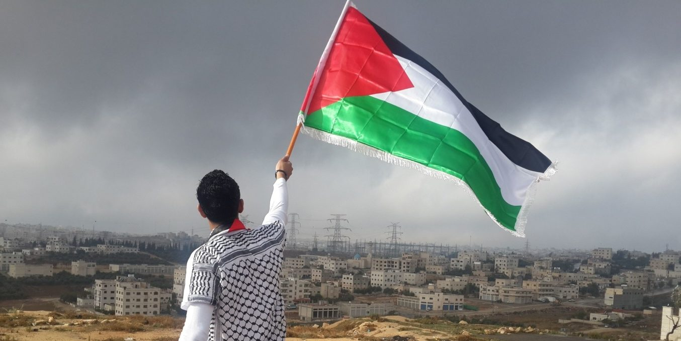 Man waving a Palestine flag