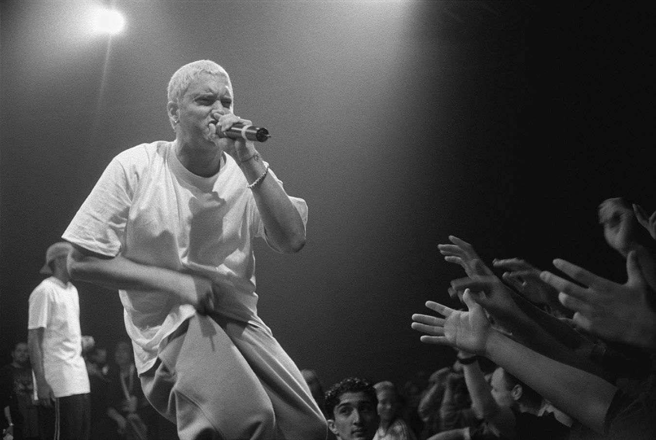 black and white Eminem on stage