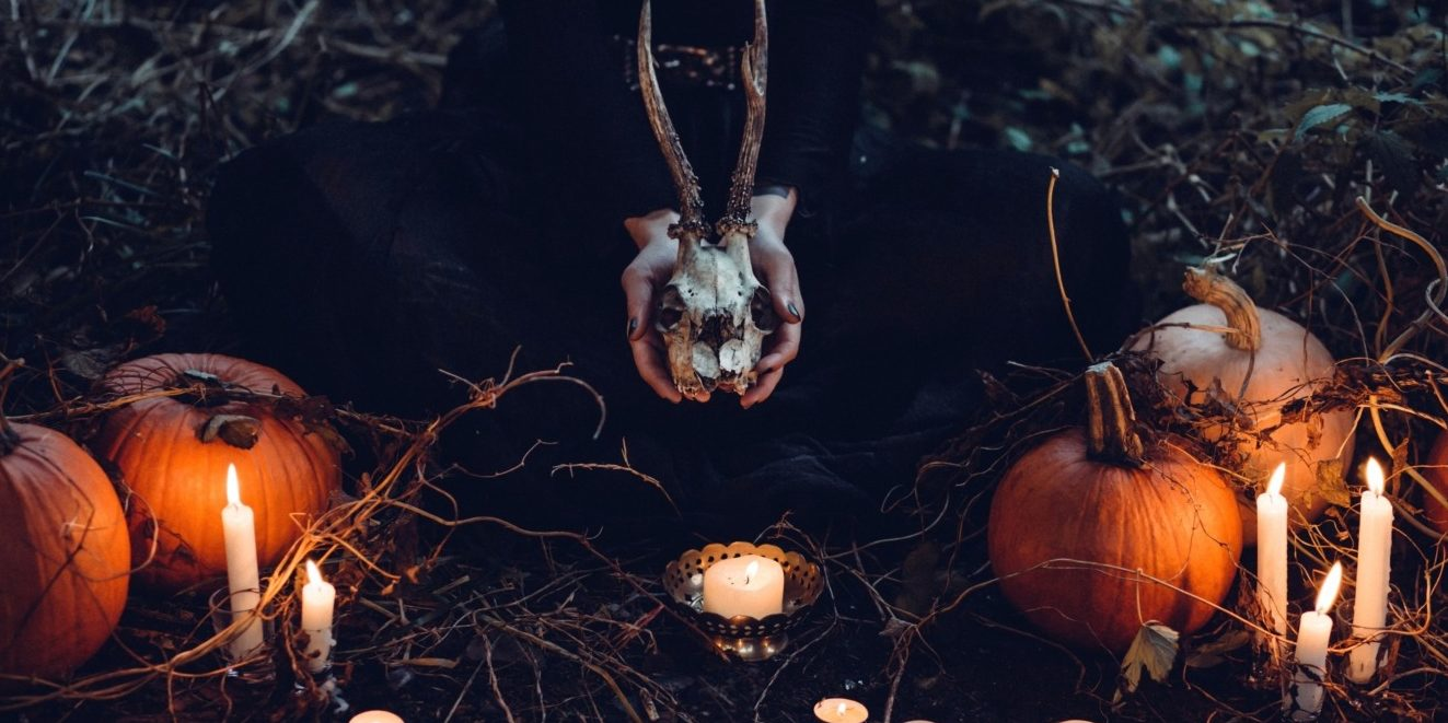 Pumpkins and lights in a scary forest - modern horror