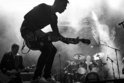 Black and white guitarist