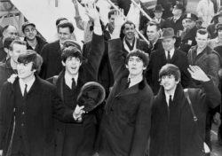 the beatles band black and white image