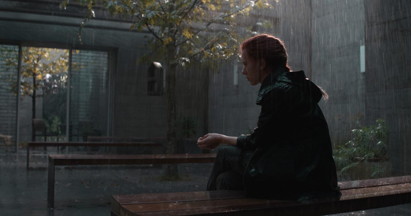Black Widow sit on bench in rain