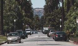 Hollywood sign seen from street
