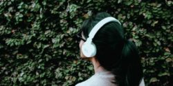 girl with headphones music