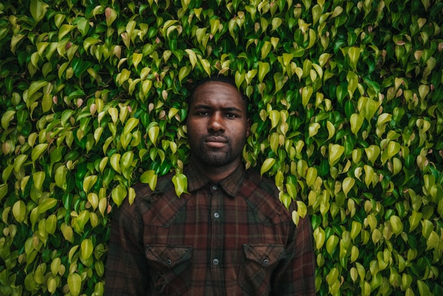 Man surrounded by leaves.